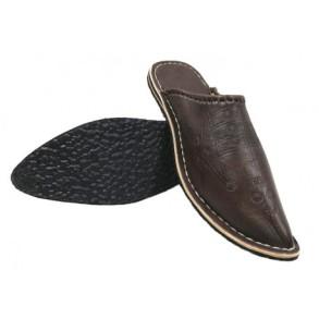 babouche-aladin-homme-clarks-pointu-cuir-marron