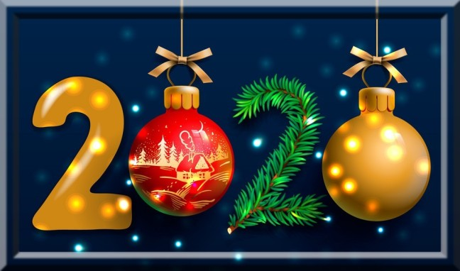 Merry Christmas and Happy New Year 2020 greeting card, vector illustration